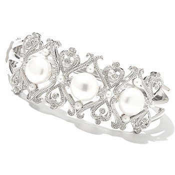 130-293 - Dallas Prince Designs Sterling Silver 7.5'' Freshwater Cultured Pearl & Diamond Bracelet