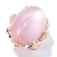 SS/YV ROSE QTZ RING W/ DOUBLET PINK MOP BOTTOM