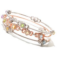 SS/RG VERM 3 ROW MULTI GEM BANGLE
