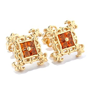 130-301 - Dallas Prince Designs Square Gemstone Fleur-de-lis Stud Earrings