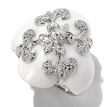 130-304 - Dallas Prince Designs Sterling Silver 22mm White Agate Fleur-de-lis Overlay Ring