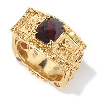 SS/YV TOP CUT GARNET RING WITH MARCASITE ACCENTS
