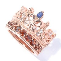 SS/RG VERM MULTI GEM CROWN RING