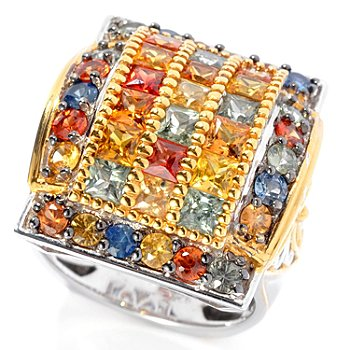 130-319 - Gems en Vogue II 5.00ctw Round & Princess Cut Multi Color Sapphire Ring