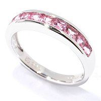 SS PRINCESS CUT PINK TOURMALINE RING