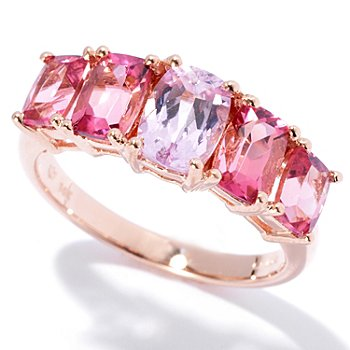 130-348 - Gem Treasures 14K Rose Gold 2.99ctw Kunzite & Pink Tourmaline Five-Stone Ring