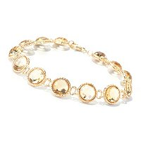 18K LINE BRACELET W/ FACETED GEMS