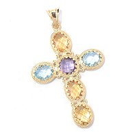 18K MULTI GEMSTONE CROSS PENDANT