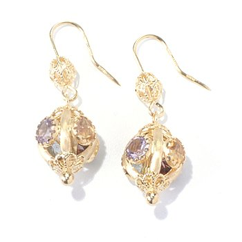 130-354 - Viale18K® Italian Gold 7.98ctw Multi Gemstone Ornate Earrings