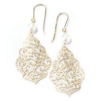 18K OPEN WORK EARRINGS W/ PEARL