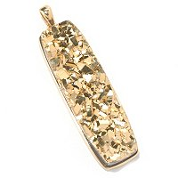 LARGE ELONGATED NUGGET PENDANT WITH GOLD DRUSY