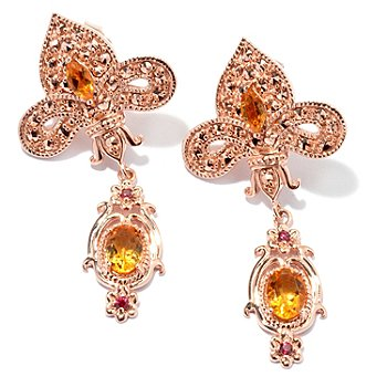 130-374 - Dallas Prince Designs Marcasite, Citrine & Orange Sapphire Fleur-de-lis Drop Earrings