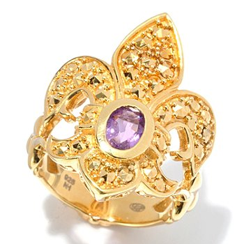 130-378 - Dallas Prince Designs 2.14ctw Amethyst & Yellow Marcasite Fleur-de-lis Ring