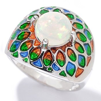 130-379 - NYC II 8mm Ethiopian Opal & Gradated Enamel Ring