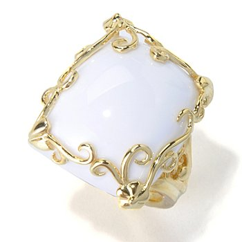 130-387 - Dallas Prince Designs 19 x 15mm Cushion Shaped White Agate Scrollwork Ring