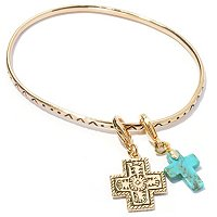 BRASS BANGLE WITH 2 CHARMS CROSS AND TURQ