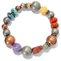 COPPER & SILVER PLATED BRASS BEAD AND GEMSTONE STRETCH BRAC