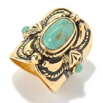 130-395 - Elements by Sarkash Gold-tone 13 x 7mm Turquoise North-South Ring