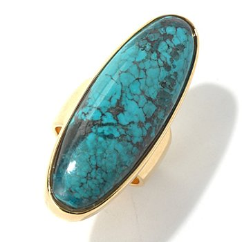 130-396 - Elements by Sarkash Gold-tone 38 x 13mm Turquoise Elongated Ring