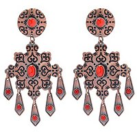 STERLING SILVER & COPPER RED CORAL EARRINGS