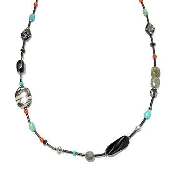 130-400 - Elements by Sarkash Sterling Silver 42'' Multi Gemstone Bead Necklace