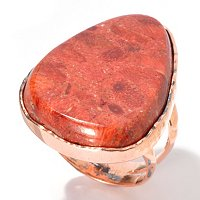 COPPER ORANGE SPONGE CORAL RING
