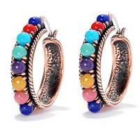 COPPER MULTI-GEMSTONE HOOP EARRINGS