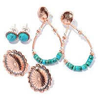 SET OF THREE COPPER & TURQ EARRINGS