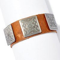 SILVER PLATED BRASS LEATHER BRACELET