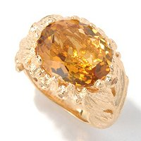 SS/YV OVAL MAD CITRINE RING WITH YLW SAPP ACCENTS