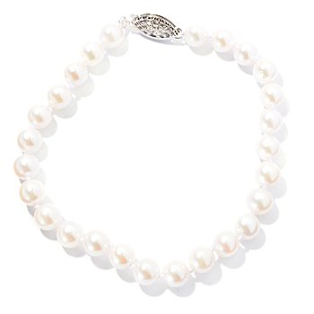 130-438 - Sterling Silver 7.5'' 6-6.5mm White Round Akoya Cultured Pearl Bracelet