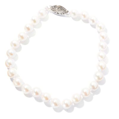 "130-438 - Sterling Silver 7.5"" 6-6.5mm White Round Akoya Cultured Pearl Bracelet"