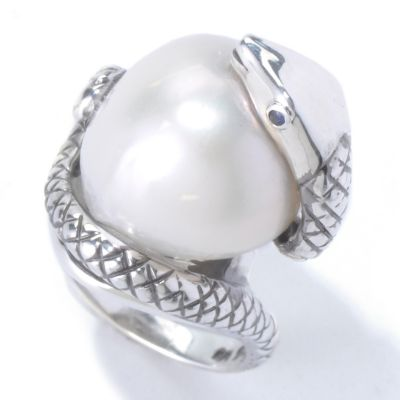 "130-442 - Sterling Silver 16-18mm Freshwater Cultured Pearl & Sapphire ""Year of the Snake"" Ring"