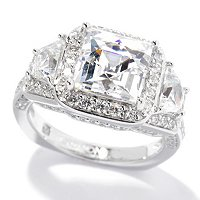 TYC SS/PLAT SQUARE AND TRAPEZOID TYCOON CUT HALO RING