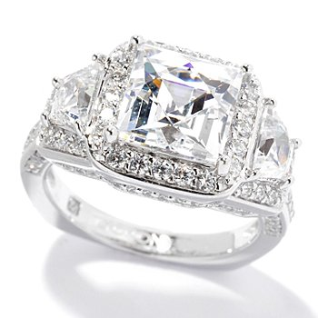 130-461 - TYCOON for Brilliante® Platinum Embraced™ 4.54 DEW Square & Trapezoid Halo Ring