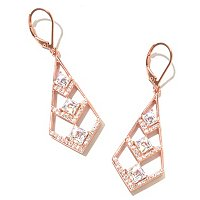 TYC SS/CHOICE SQUARE TYCOON CUT TRIPLE CHEVRON DANGLE EARRINGS