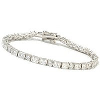 TYC SS/PLAT TENSION SET ROUND AND SQUARE TYCOON CUT LINE BRACELET