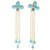 SS/18KV EAR SLEEPING BEAUTY TURQUOISE TRIO & CHAIN DANGLE