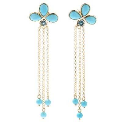 "130-505 - Michelle Albala Sleeping Beauty Turquoise & London Blue Topaz 2.25"" Dangle Earrings"