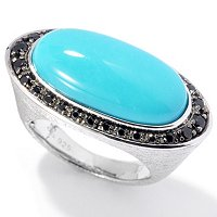 SS/PLAT RING ELONGATED SLEEPING BEAUTY TURQUOISE & BLK SPINEL
