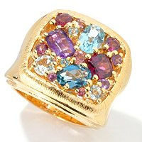 SS/P RING MULTI GEMSTONE WIDE BAND