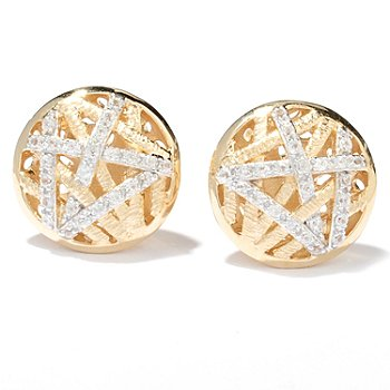 130-509 - Michelle Albala White Zircon Interwoven Brushed Button Earrings