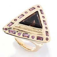 SS/18KV RING SMOKY QUARTZ & MULTI GEM TRIANGLE