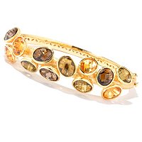 SS/18KV BRAC 12-STONE SCATTER GEM HINGED BANGLE