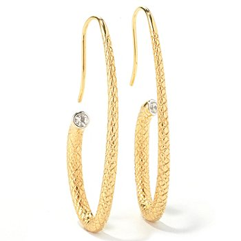 130-515 - Michelle Albala Gemstone Elongated & Textured J-Hoop Earrings