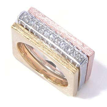 130-516 - Michelle Albala Set of Three White Sapphire Stackable Square Band Rings