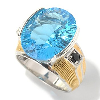 130-522 - Men's en Vogue II 17.84ctw Concave Cut Ceylon Blue Topaz & Black Spinel Ring