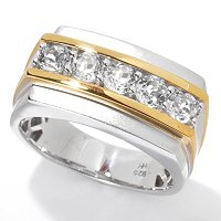 MEN'S - SS/PALL RING WHITE TOPAZ BAND