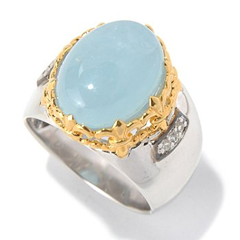 130-526 - Men's en Vogue II 16 x 12mm Aquamarine & White Sapphire Polished Ring