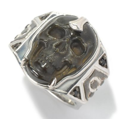 130-528 - Men's en Vogue II Carved Obsidian Skull & Black Spinel Ring